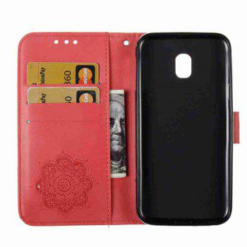 Embossing - Campanula PU Phone Case for Samsung Galaxy J330 - RED