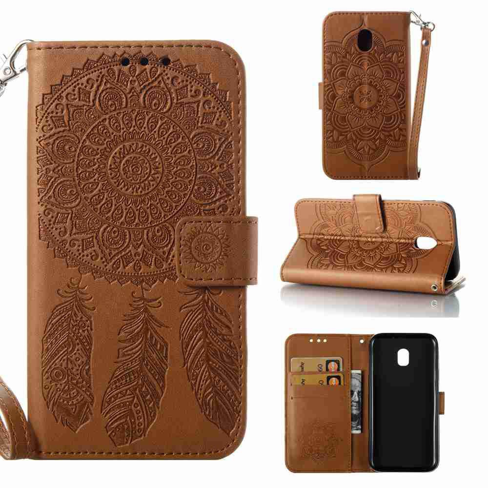 Embossing - Campanula PU Phone Case for Samsung Galaxy J330 - BROWN