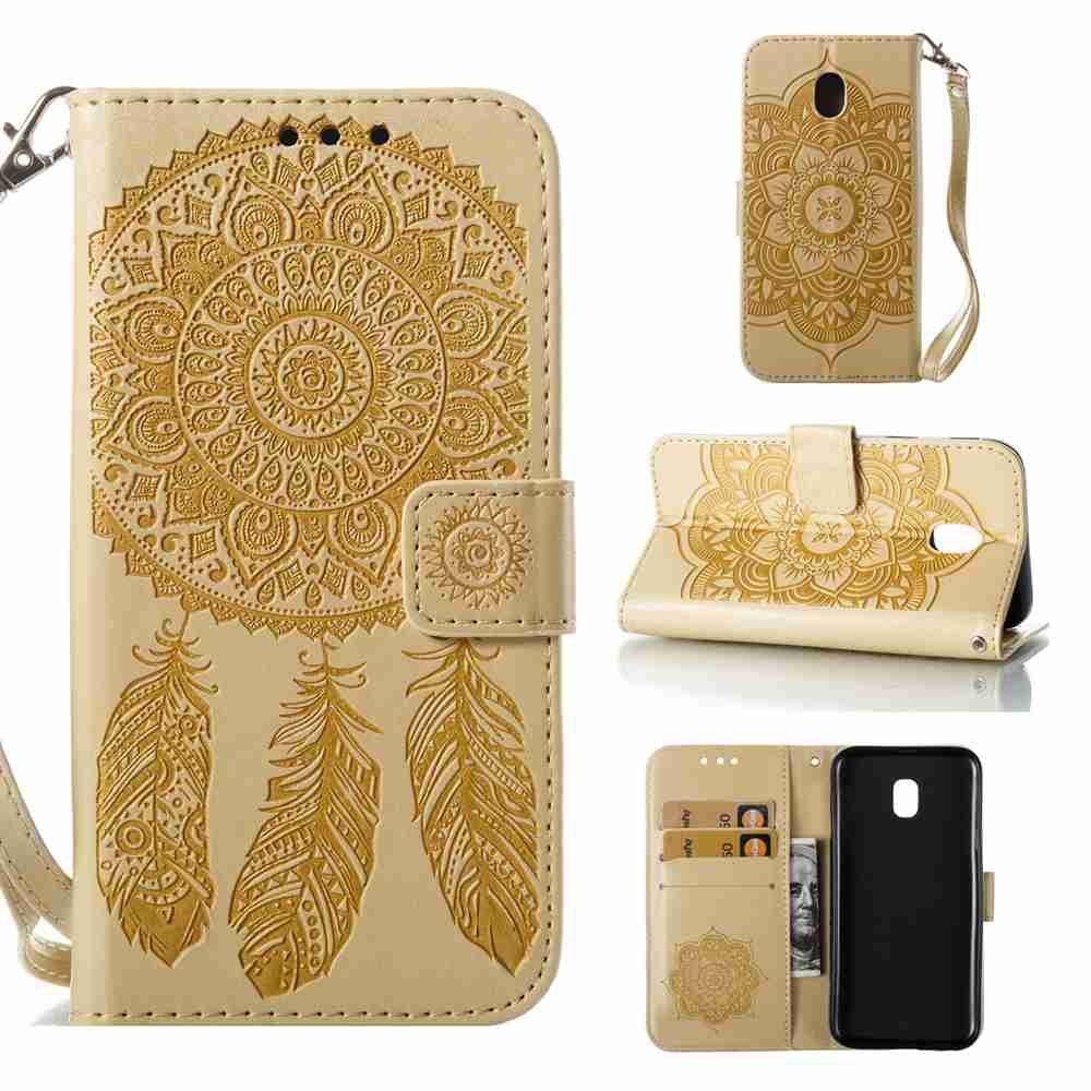 Embossing - Campanula PU Phone Case for Samsung Galaxy J330 - GOLDEN