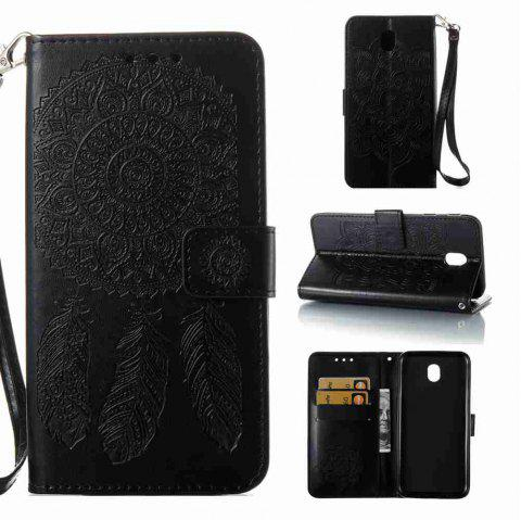 Embossing - Campanula PU Phone Case for Samsung Galaxy J730 - BLACK