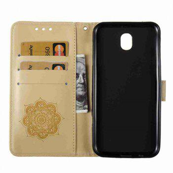 Embossing - Campanula PU Phone Case for Samsung Galaxy J730 - GOLDEN