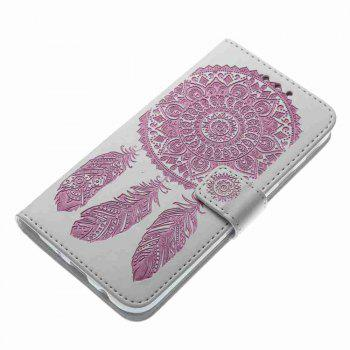Embossing - Campanula PU Phone Case for Samsung Galaxy J730 - RED/WHITE