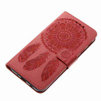 Embossing - Campanula PU Phone Case for Samsung Galaxy J730 - RED