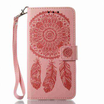 Embossing - Campanula PU Phone Case for Samsung Galaxy J730 - PINK
