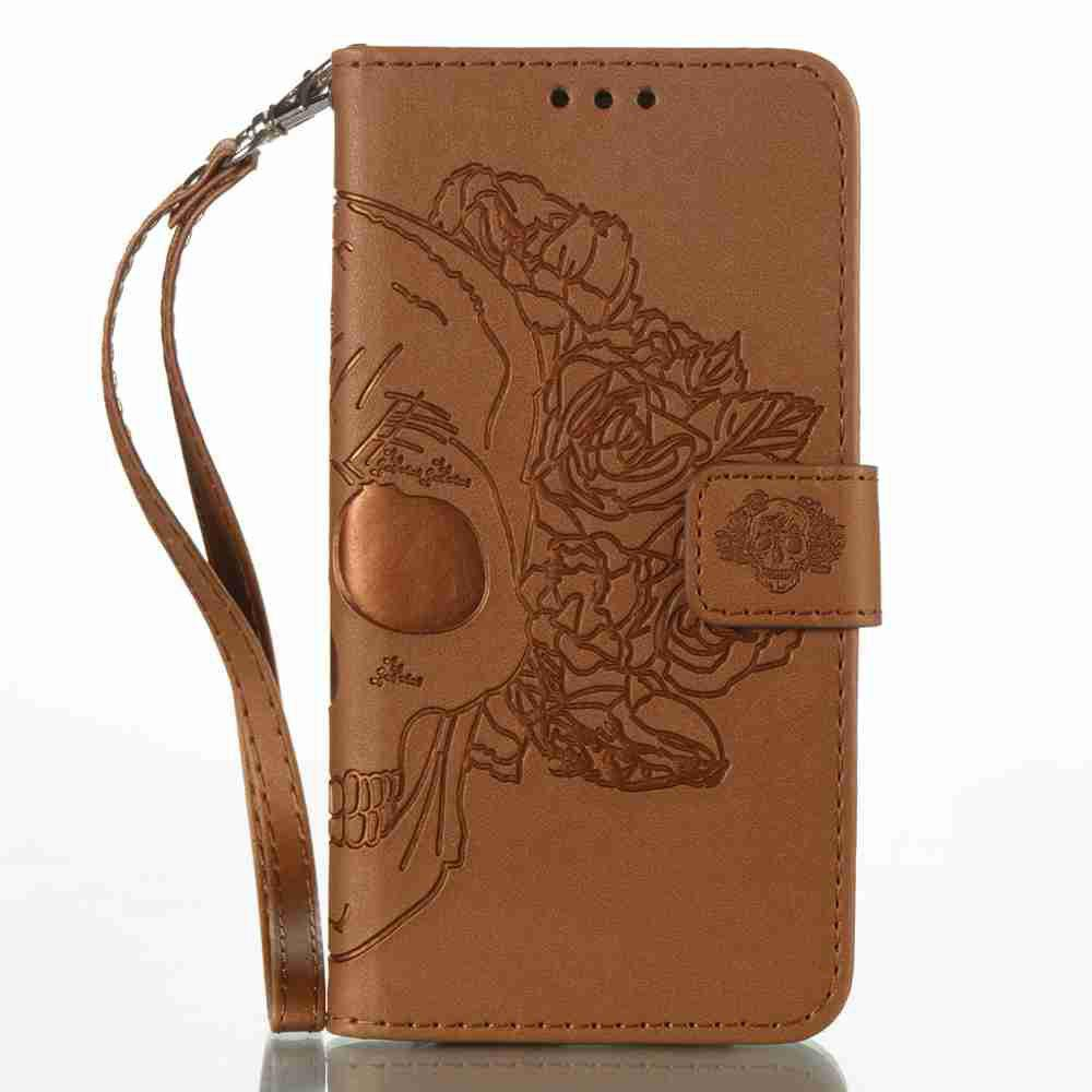 Double Embossed Skull Head PU Phone Case for Samsung Galaxy A5 2017 - BROWN