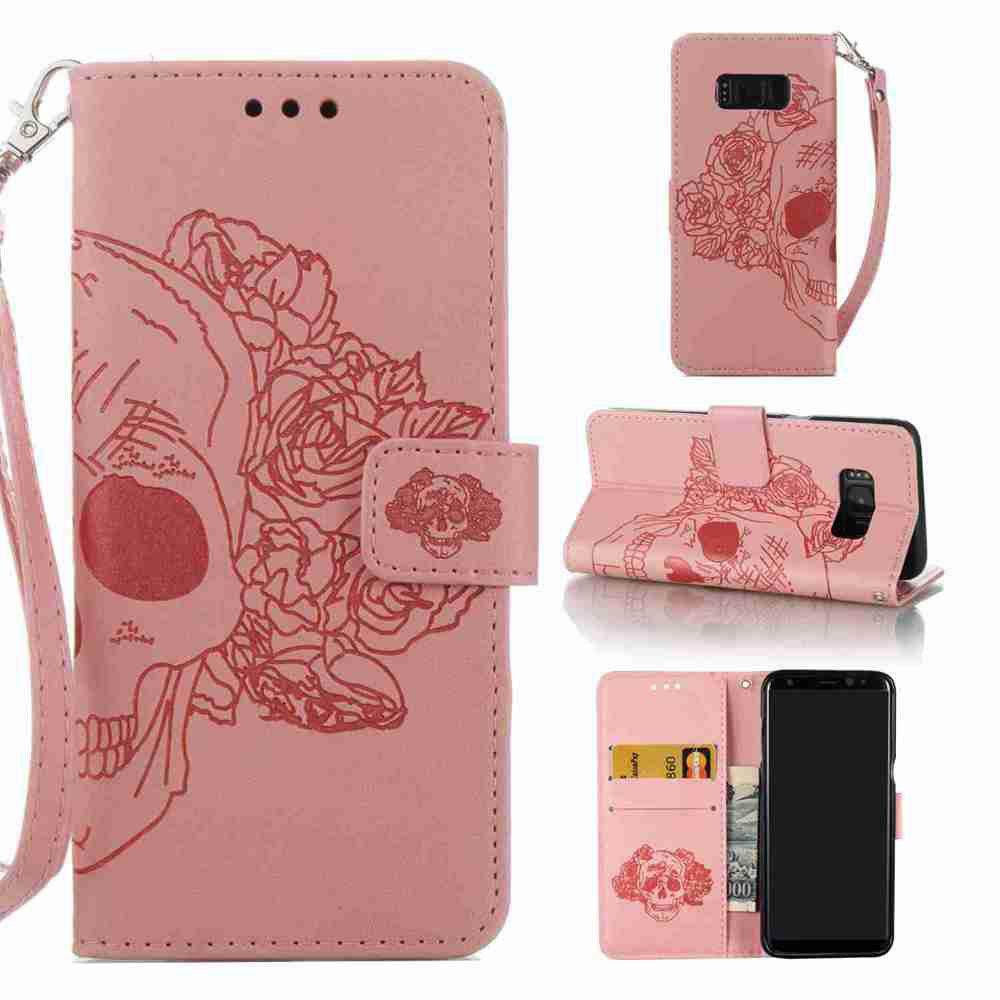 Double Embossed Skull Head PU Phone Case for Samsung Galaxy S8 metal ring holder combo phone bag luxury shockproof case for samsung galaxy note 8