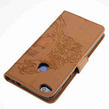 Double Embossed Skull Head PU Phone Case for HUAWEI P8 Lite 2017 - BROWN