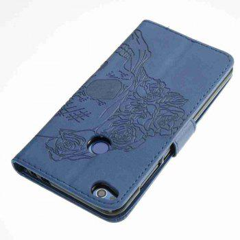 Double Embossed Skull Head PU Phone Case for HUAWEI P8 Lite 2017 - BLUE