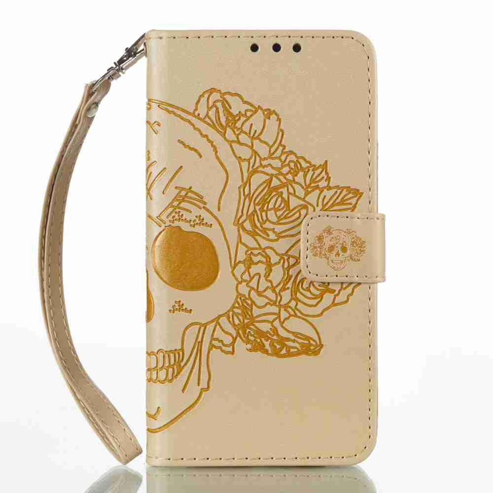 Double Embossed Skull Head PU Phone Case for HUAWEI P8 Lite 2017 - GOLDEN