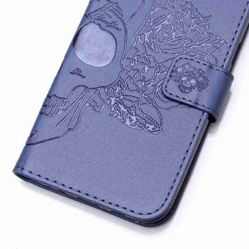 Double Embossed Skull Head PU Phone Case for HUAWEI P8 Lite - BLUE