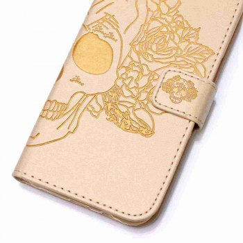 Double Embossed Skull Head PU Phone Case for HUAWEI P8 Lite - GOLDEN