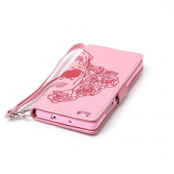 Double Embossed Skull Head PU Phone Case for HUAWEI P8 Lite - PINK