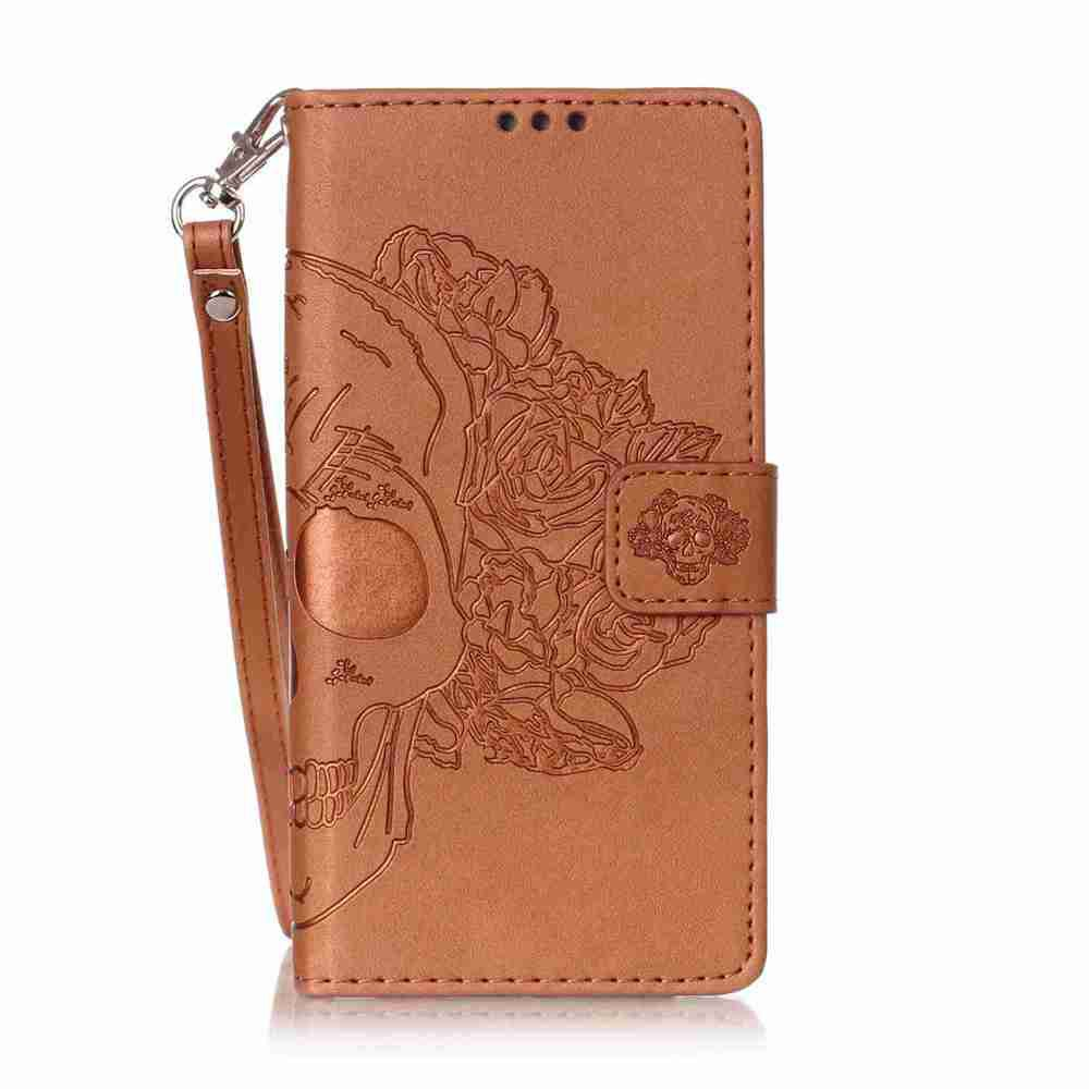 Double Embossed Skull Head PU Phone Case for HUAWEI P8 Lite - BROWN