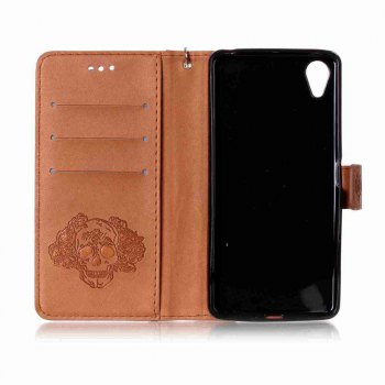 Double Embossed Skull Head PU Phone Case for Sony Xperia X Perfomance - BROWN