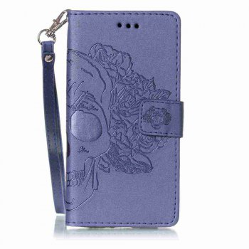 Double Embossed Skull Head PU Phone Case for Sony Xperia X Perfomance - BLUE