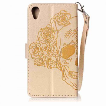 Double Embossed Skull Head PU Phone Case for Sony Xperia X Perfomance - GOLDEN