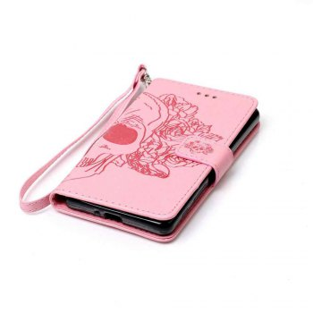 Double Embossed Skull Head PU Phone Case for Sony Xperia X Perfomance - PINK
