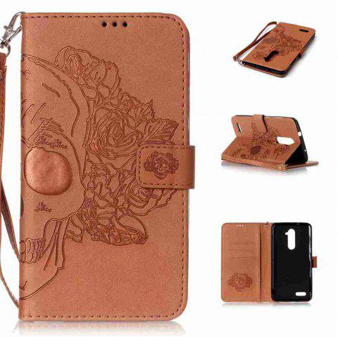 Double Embossed Skull Head PU Phone Case for Zte  Z981 - BROWN