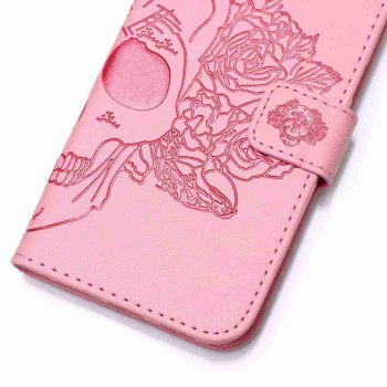 Double Embossed Skull Head PU Phone Case for Zte  Z981 - PINK