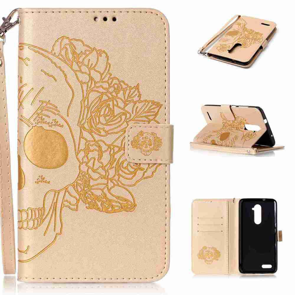 Double Embossed Skull Head PU Phone Case for Zte  Z981 - GOLDEN