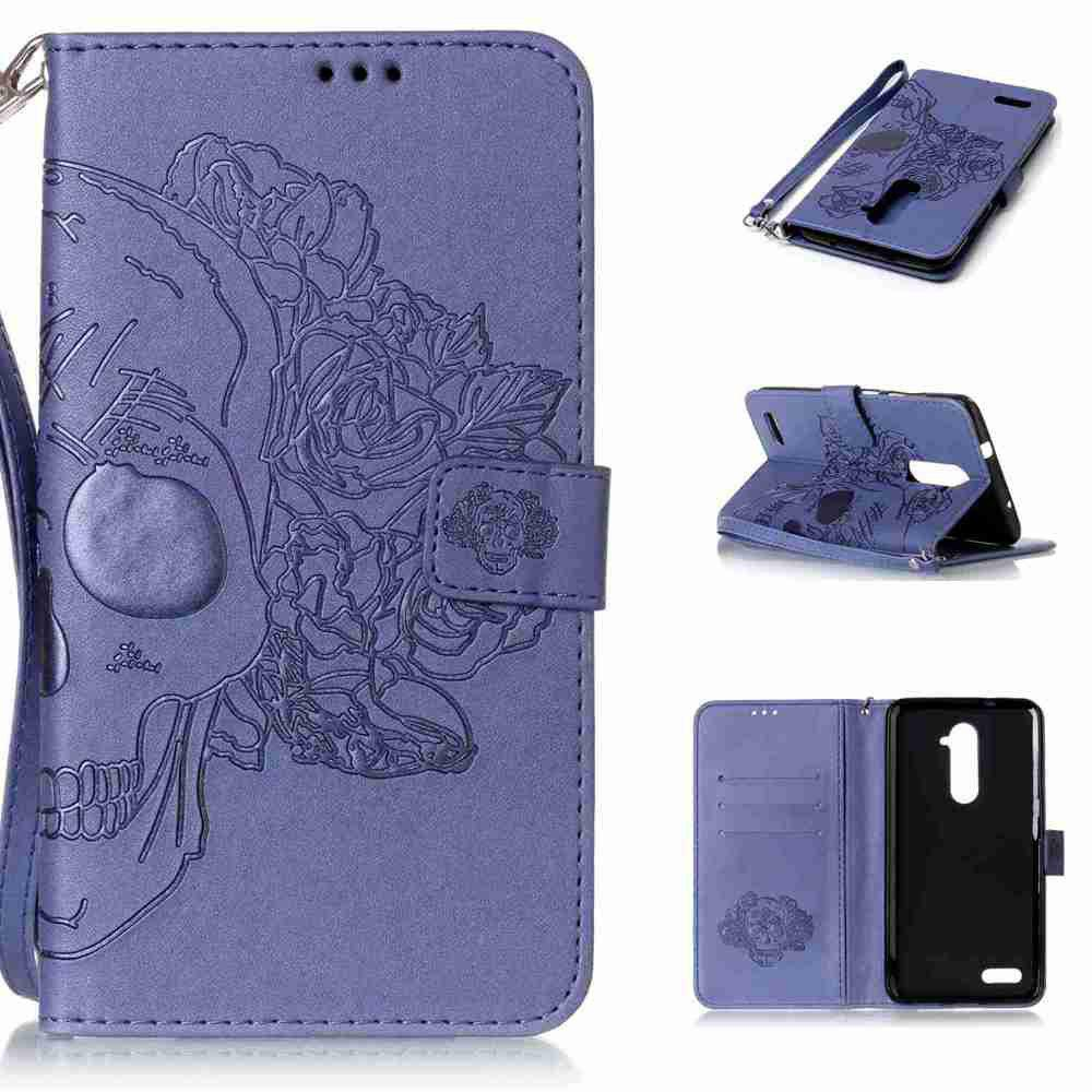 Double Embossed Skull Head PU Phone Case for Zte  Z981 - BLUE