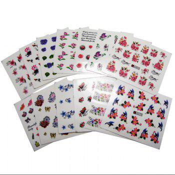 50PCS Different Styles Fashion Flowers Pattern Nail Water Transfer Stickers -  COLORMIX