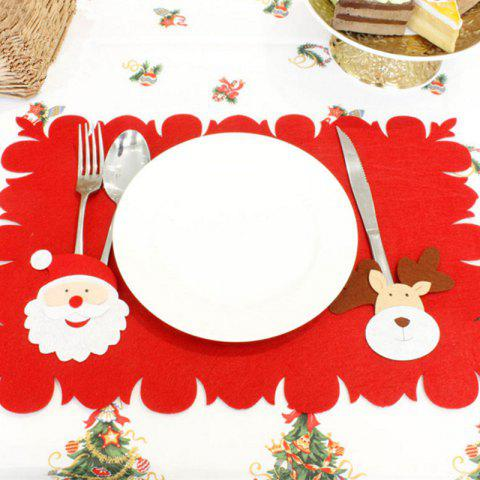 XM Christmas Deer Pattern Placemat Knives Forks Cover Christmas Decoration - RED