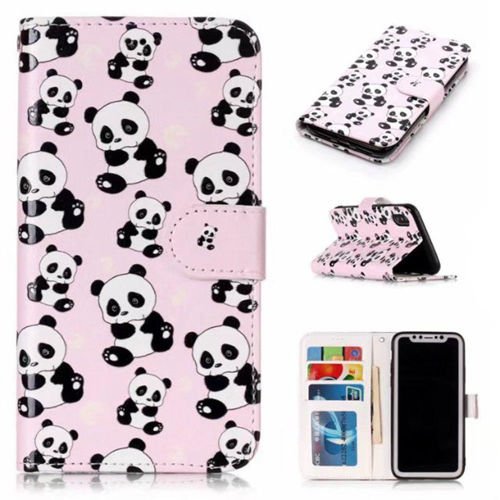 Wkae Embossed Embossed Leather Case Cover for IPhone X - PINK/WHITE
