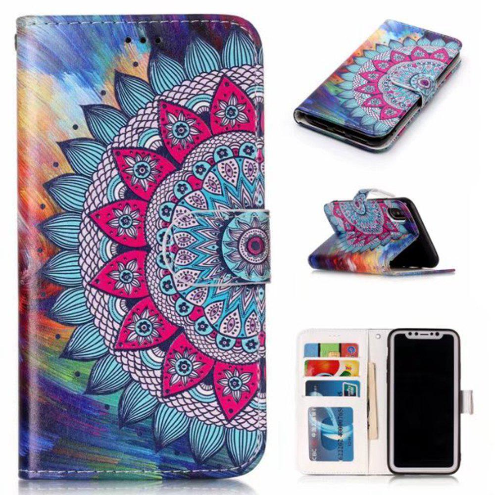 Wkae Embossed Embossed Leather Case Cover for IPhone X - ROSE RED / BLUE