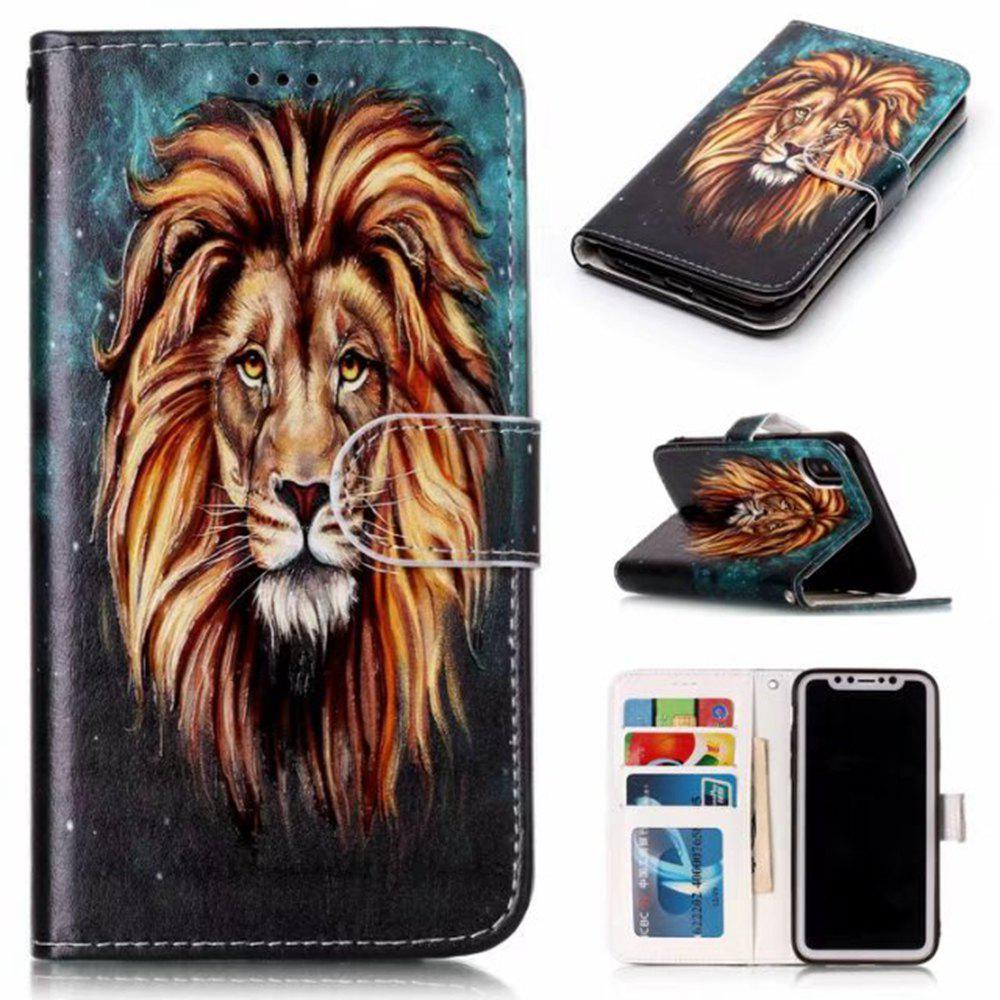 Wkae Embossed Embossed Leather Case Cover for IPhone X - BROWN / BLUE