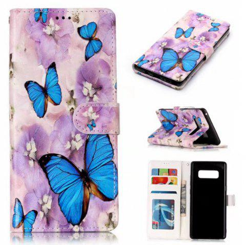 Wkae Embossed Embossed Leather Case Cover for Samsung Galaxy Note 8 - BLUE / PURPLE