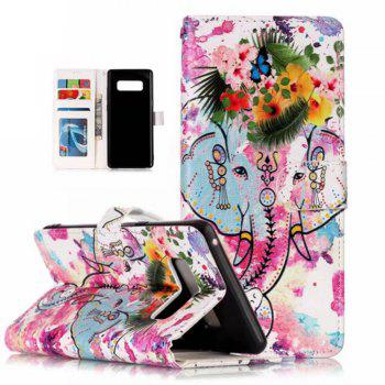 Wkae Embossed Embossed Leather Case Cover for Samsung Galaxy Note 8 - GREEN/PINK