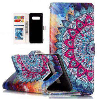 Wkae Embossed Embossed Leather Case Cover for Samsung Galaxy Note 8 - ROSE RED / BLUE