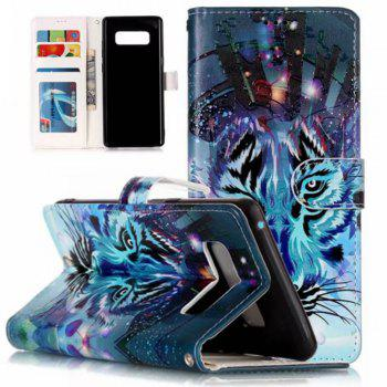 Wkae Embossed Embossed Leather Case Cover for Samsung Galaxy Note 8 - DEEP BLUE