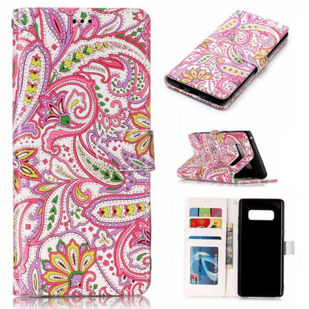 Wkae Embossed Embossed Leather Case Cover for Samsung Galaxy Note 8 - ROSE RED