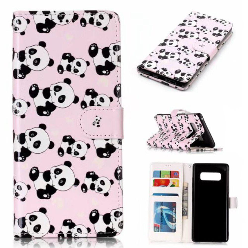 Wkae Embossed Embossed Leather Case Cover for Samsung Galaxy Note 8 - PINK/WHITE