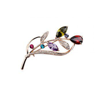 Seven Color Leaf Rose Gold Fashion Beautiful Brooch for Women - COLORFUL COLORFUL