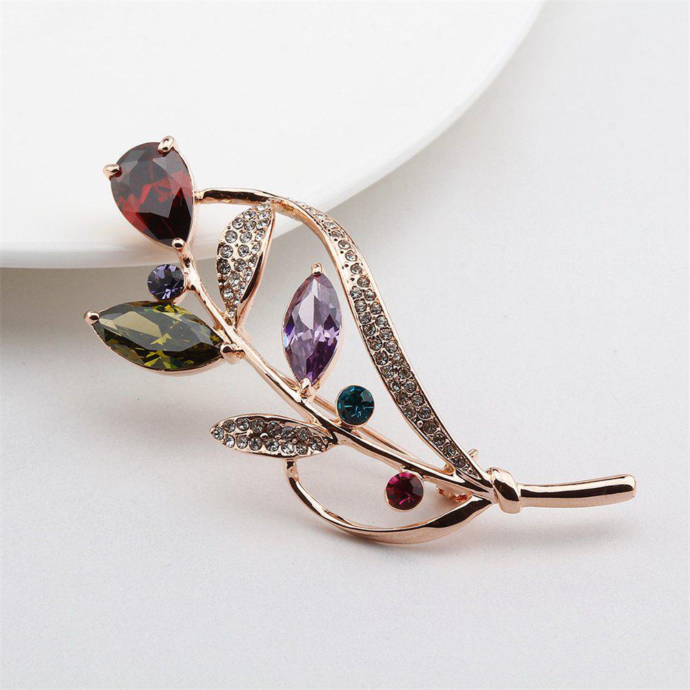 Seven Color Leaf Rose Gold Fashion Beautiful Brooch for Women - COLORFUL