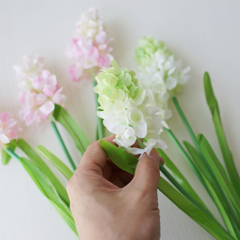 LmDec 17FXZ01 Artificial Hyacinth Flower for Home Decoration - WHITE/GREEN