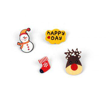 4Pcs Women's Brooches Set Christmas Series Shaped Acrylic Cute Brooch Accessory - MULTICOLOR multicolorCOLOR