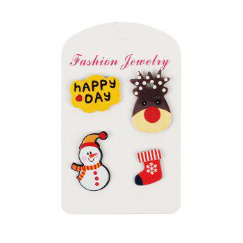 4Pcs Women's Brooches Set Christmas Series Shaped Acrylic Cute Brooch Accessory - multicolorCOLOR 1 SET