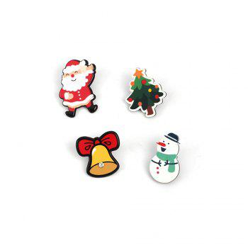 4pcs  Europe And The United States Popular Santa Claus Cartoon Series  Ladies Brooch - MULTICOLOR multicolorCOLOR