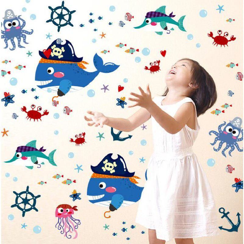 2018 Dsu Cartoon Shark Pirate Wall Sticker Tv Removable Backdrop