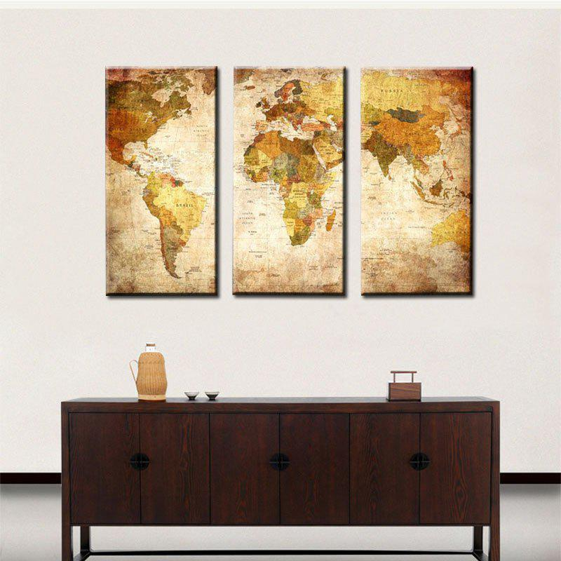 2018 retro world map canvas print 3pcs colorful x cm in canvas wall retro world map canvas print 3pcs colorful 40 x 80cm gumiabroncs Images