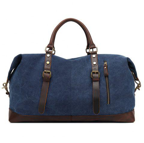 AUGUR Oversized Canvas Genuine Leather Trim Travel Tote Duffel Shoulder Handbag Weekend Bag - BLUE SMALL