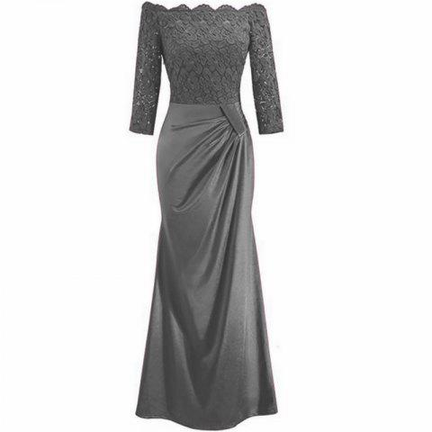 Long Sleeve Dress lace Together Cultivate One's Morality - GRAY XL