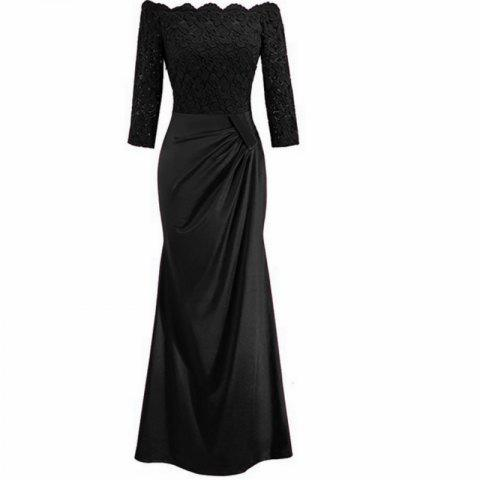 Long Sleeve Dress lace Together Cultivate One's Morality - BLACK L