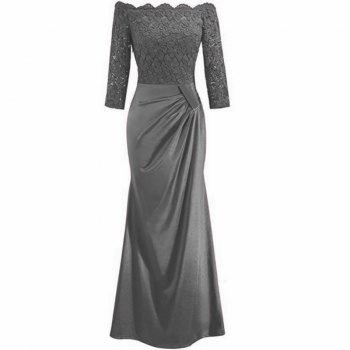 Long Sleeve Dress lace Together Cultivate One's Morality - GRAY GRAY