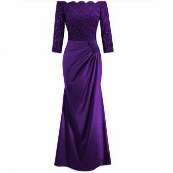 Long Sleeve Dress lace Together Cultivate One's Morality - PURPLE PURPLE