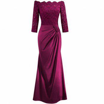 Long Sleeve Dress lace Together Cultivate One's Morality - ROSE RED XL